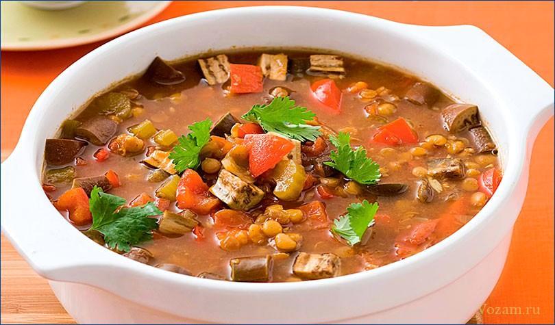 Картофель, фасоль, горох сушеный, чечевица, лук репчатый, морковь, корень петрушки, маргарин, жир животный, масло растительное, бульон, вода, специи, соль, зелень.